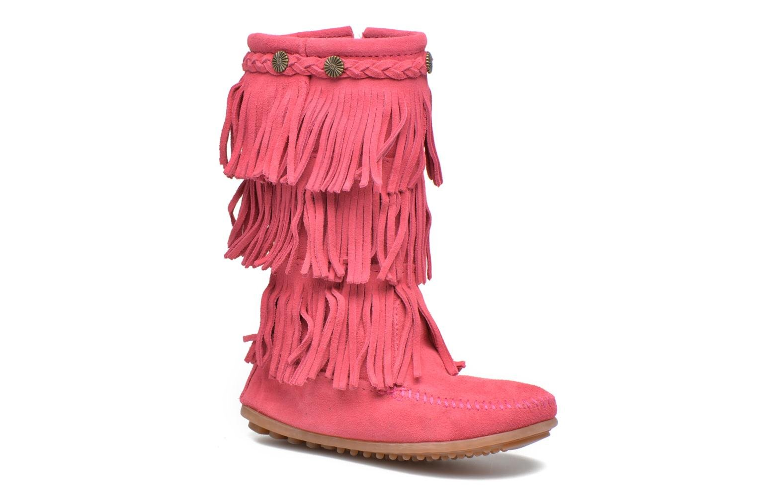 3-Layer Fringe Boot E Hot Pink Suede