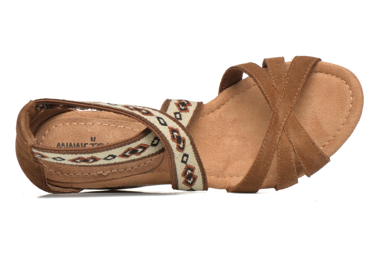 Sandali e scarpe aperte Minnetonka Drew Wedge Marrone immagine sinistra