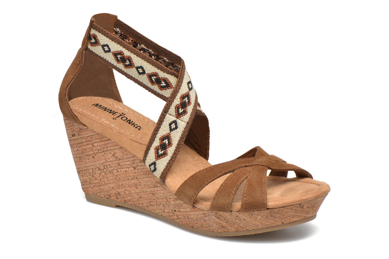 Los zapatos más populares para hombres y mujeres Minnetonka Drew Wedge (Marrón) - Sandalias en Más cómodo