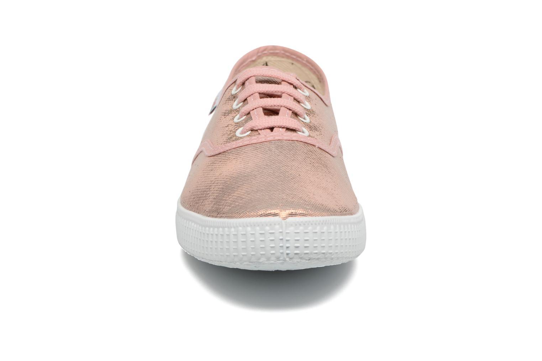 Baskets Victoria Ingles Tejido Tornosolado Rose vue portées chaussures