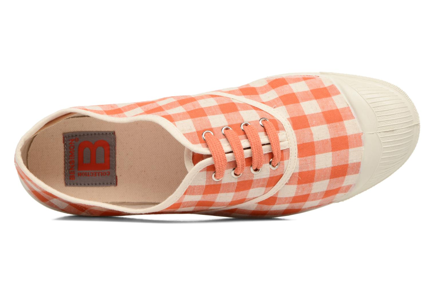 Trainers Bensimon Tennis Vichy Lin Orange view from the left