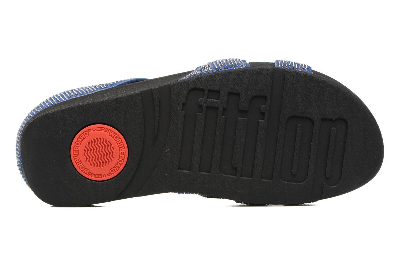 Mules et sabots FitFlop Slinky Rokkit Criss-Cross Slide Bleu vue haut