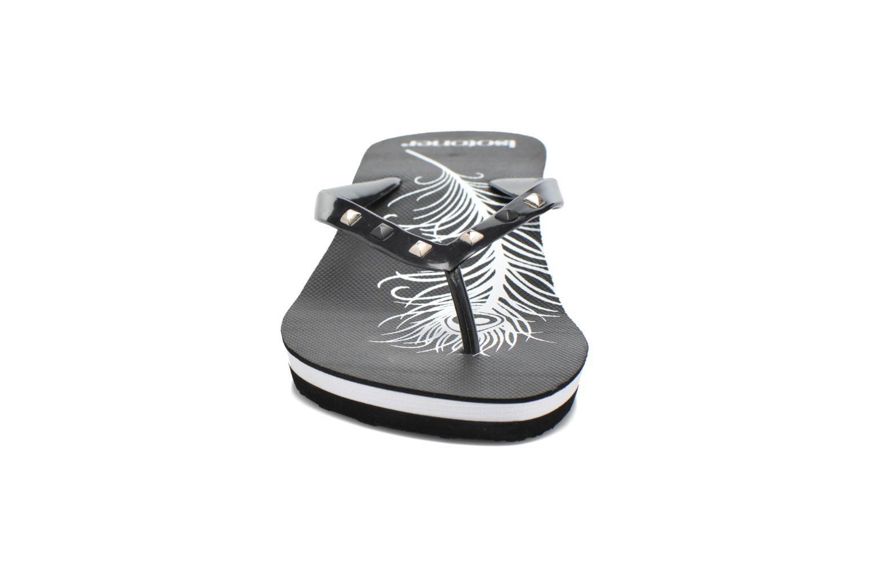 Tongs Isotoner Tong plume Noir vue portées chaussures