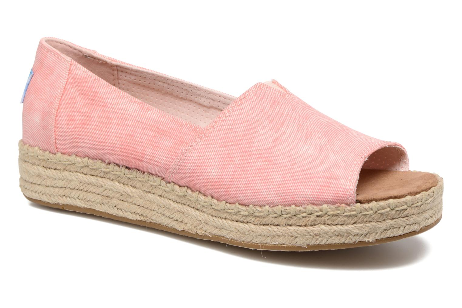 Open Toe Platform Alp Coral Washed Twill