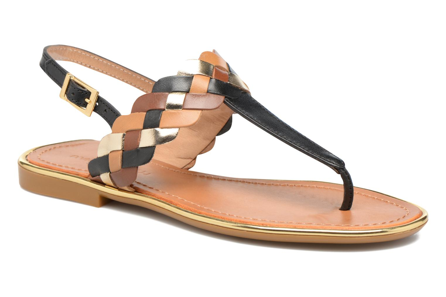Sandals Mellow Yellow Bapo Brown detailed view/ Pair view