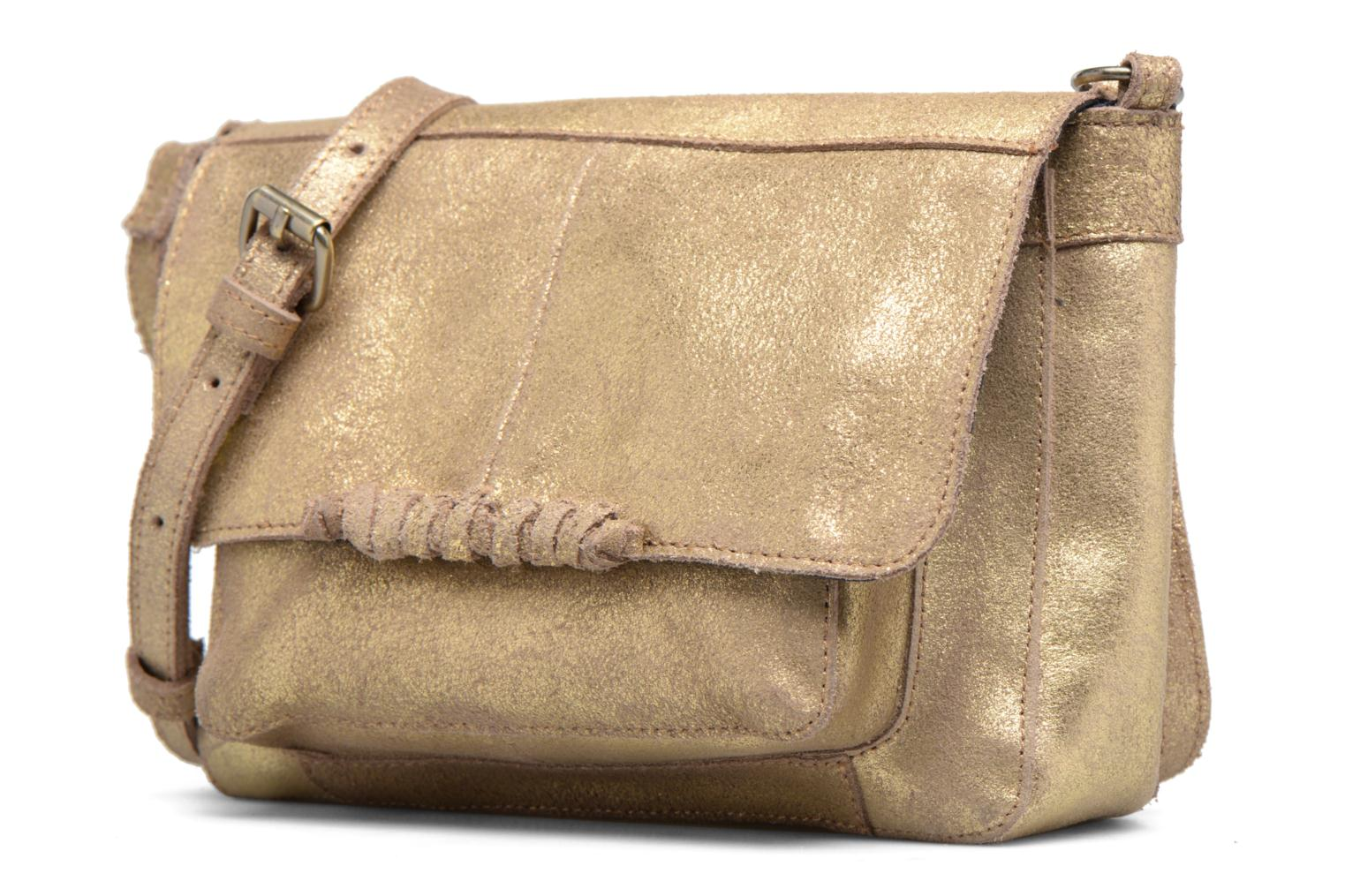 Handtassen Pieces Musta Leather Crossover bag Goud en brons model