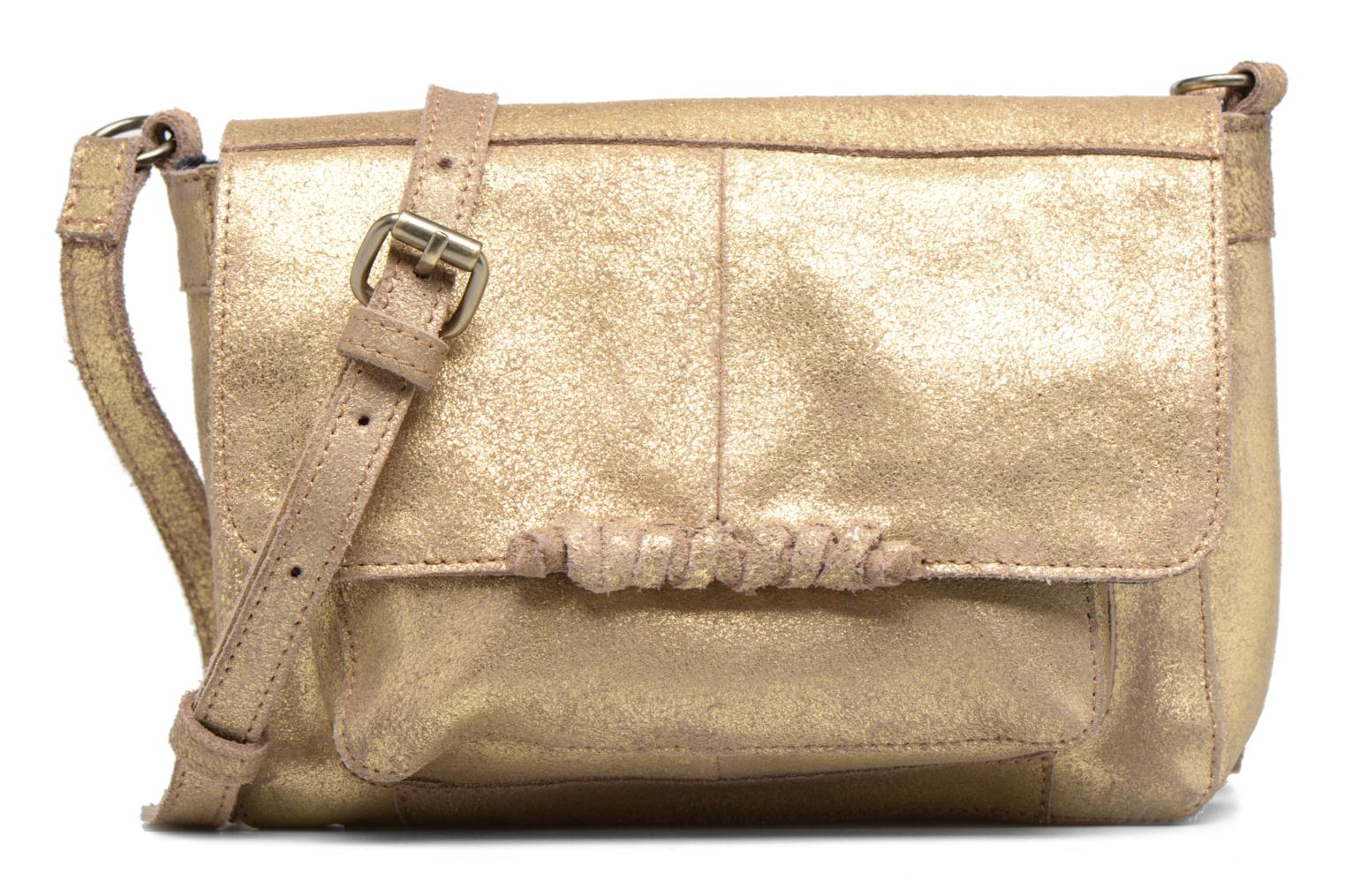 Handtassen Pieces Musta Leather Crossover bag Goud en brons detail