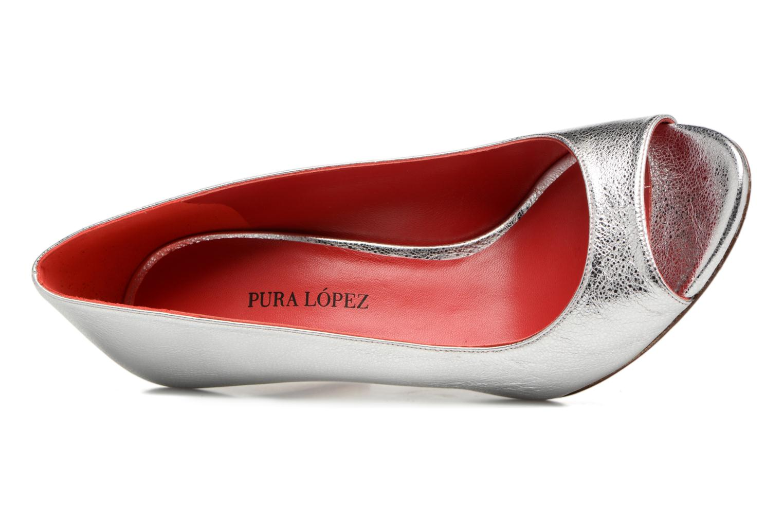 Zapatos de tacón Pura Lopez Lorina Plateado vista lateral izquierda