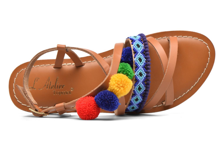 Sandalen L'Atelier Tropézien Popo braun ansicht von links