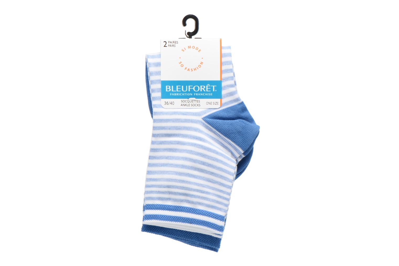Chaussettes et collants BLEUFORÊT DUO SOCQUETTES RAYURES Bleu vue derrière