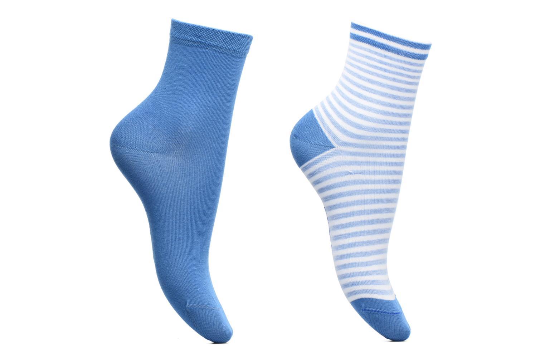 Strømper og tights BLEUFORÊT DUO SOCQUETTES RAYURES Blå detaljeret billede af skoene