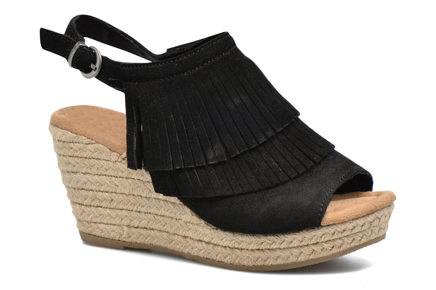 Sandalias Minnetonka Ashley Negro vista de detalle / par