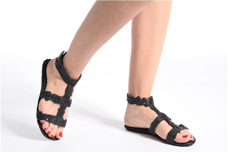 Sandals Melissa Campana Barroca Sandal Black view from underneath / model view