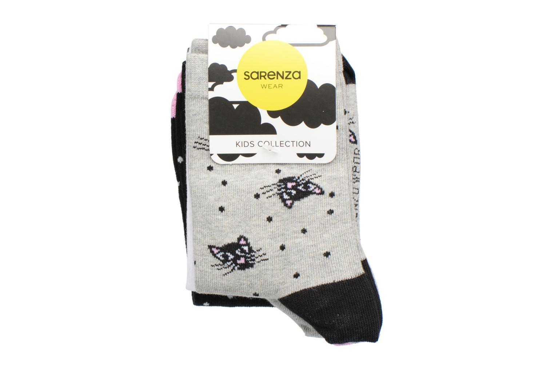 Chaussettes et collants Sarenza Wear Chaussettes Fille Pack de 3 Chat Gris vue derrière