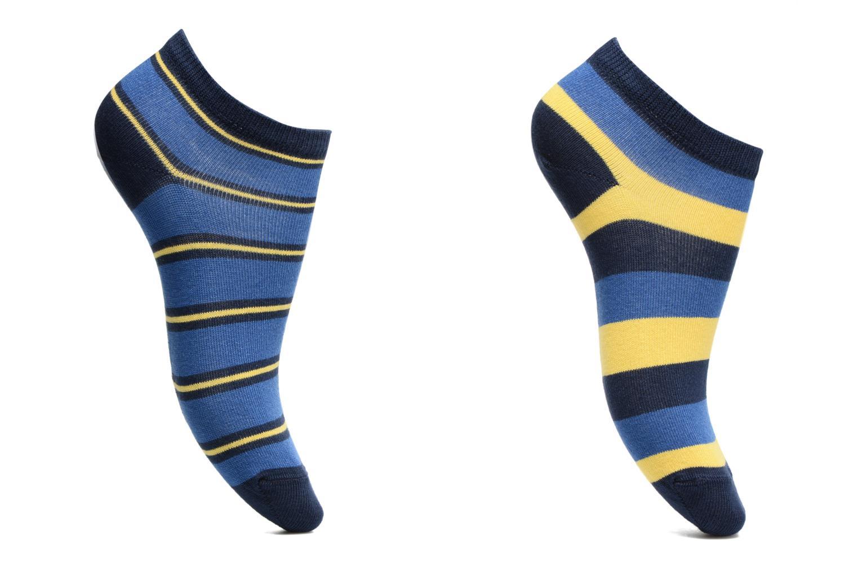 Chaussettes Garçon Pack de 2 invisibles Rayures Bleu/Jaune