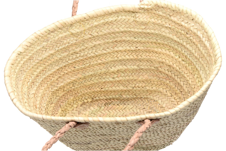 Handbags Etincelles Panier artisanal Vierge longes anses Beige back view
