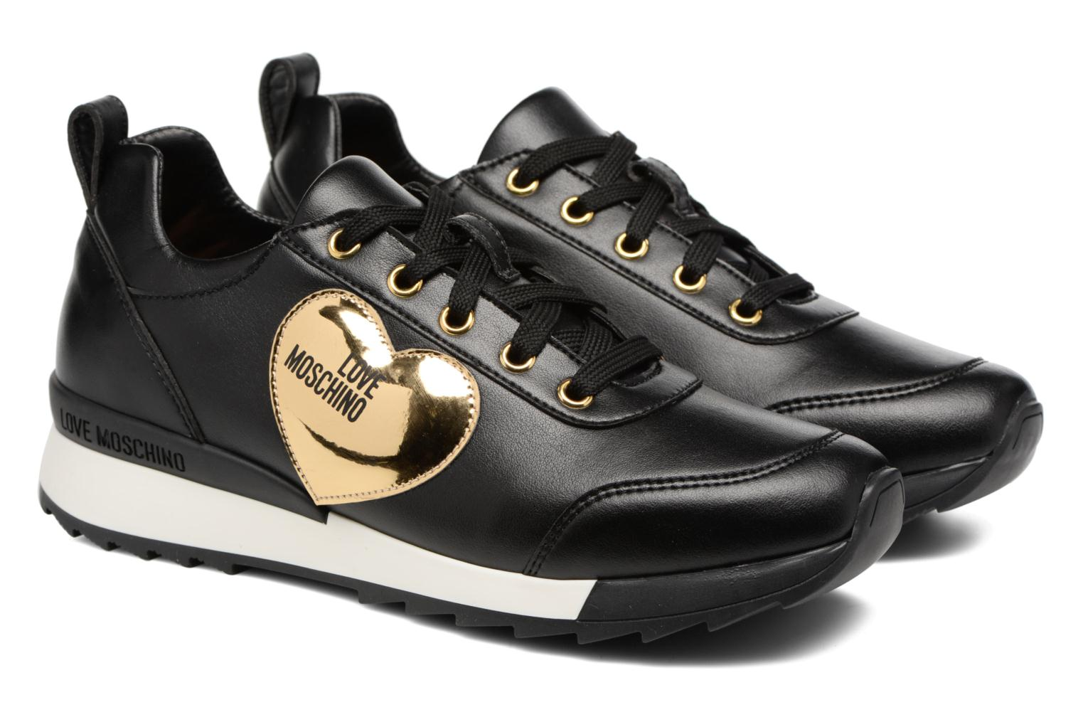 Trainers Love Moschino Gold Heart Sneaker Black 3/4 view