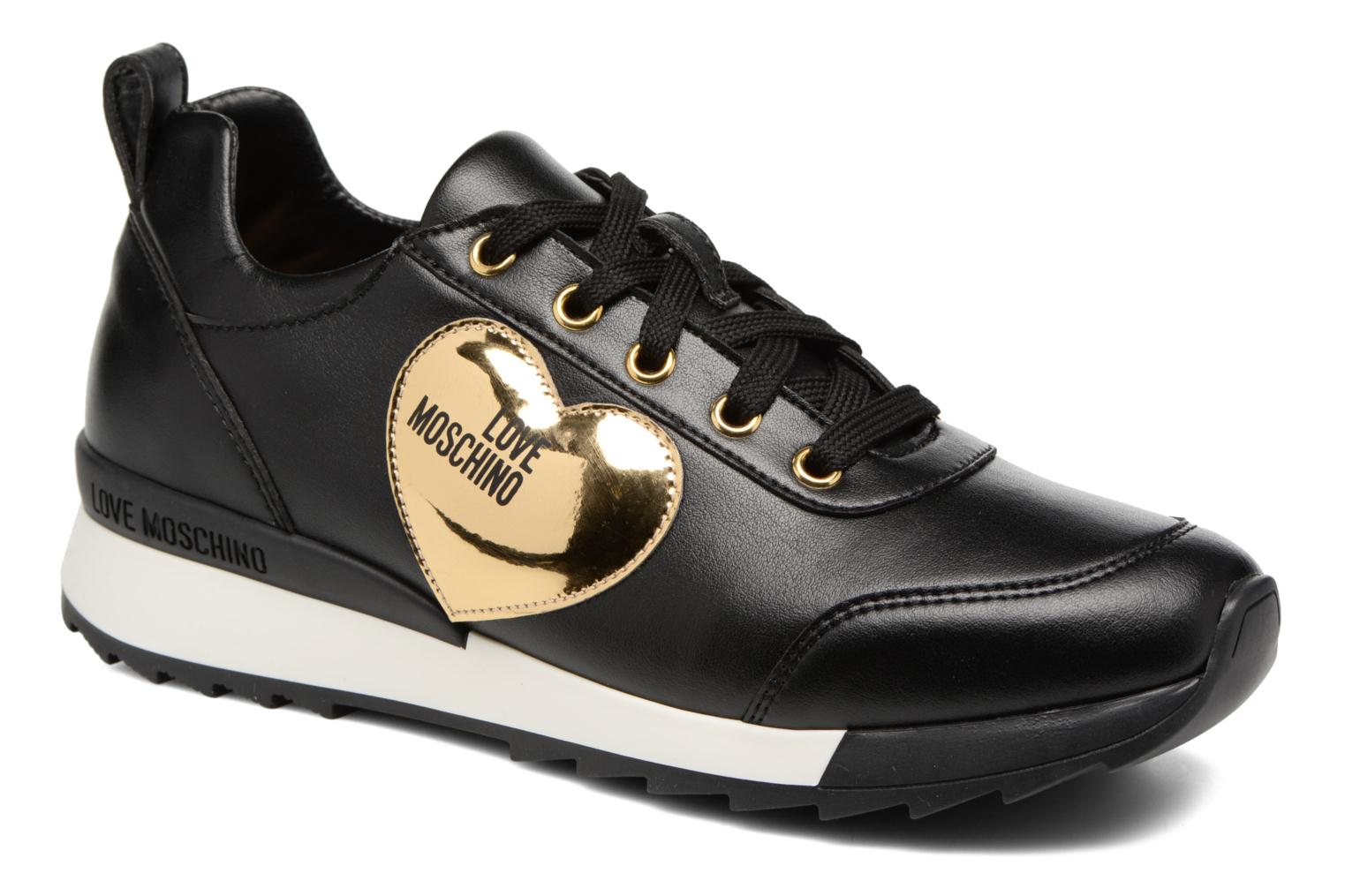 Trainers Love Moschino Gold Heart Sneaker Black detailed view/ Pair view