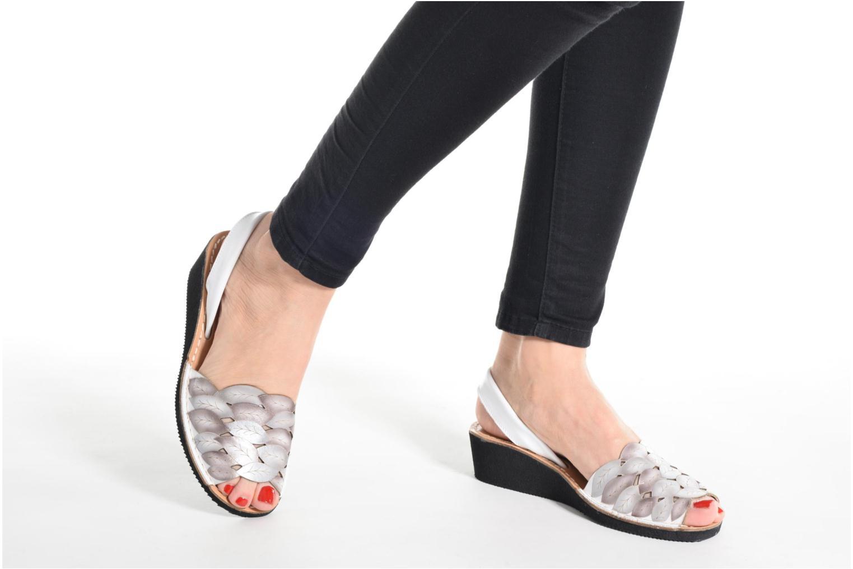Sandales et nu-pieds Laura Vita Sonia Blanc vue bas / vue portée sac