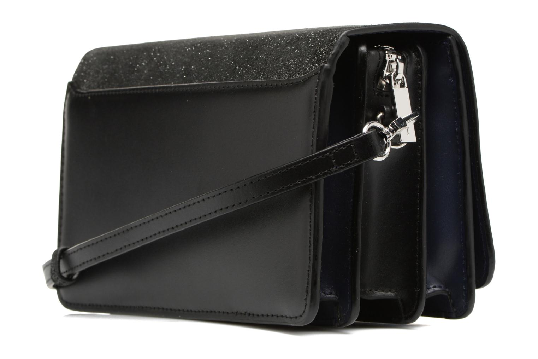 Handtaschen Le Tanneur Porté croisé Coquette TPM 3 soufflets glitter anti RFID schwarz ansicht von rechts
