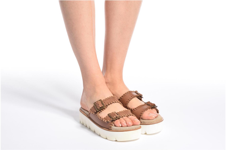 Sandales et nu-pieds Coolway Malva Noir vue bas / vue portée sac