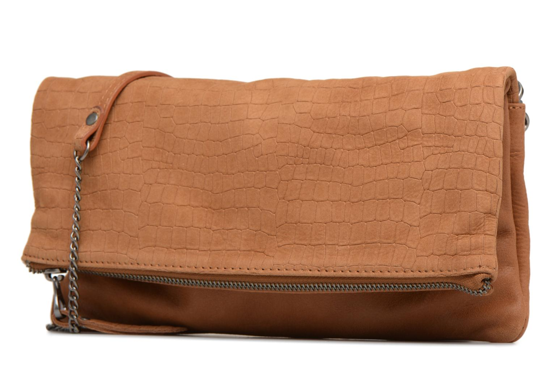 Clutch bags Sabrina Léonie croco Brown model view