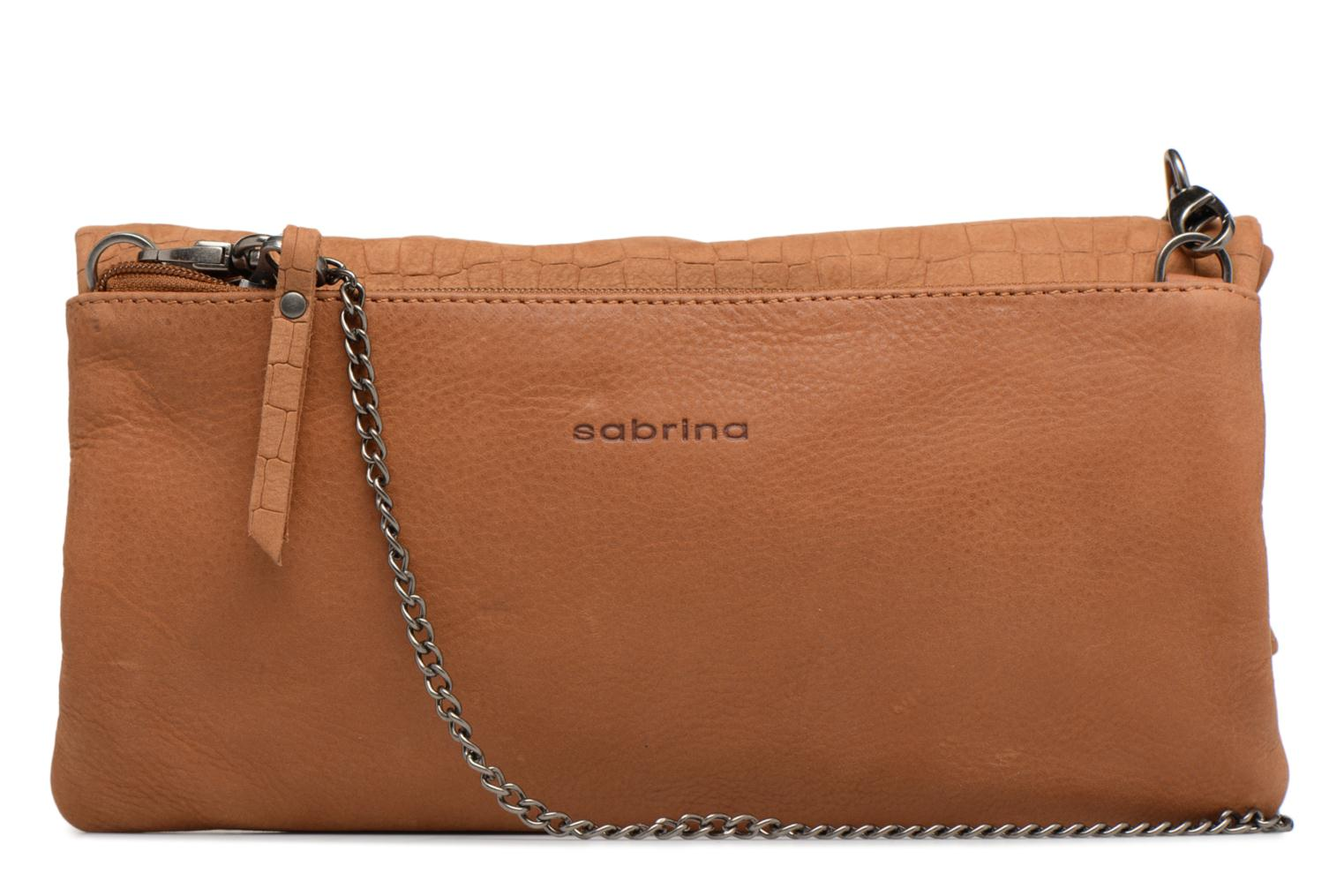 Clutch bags Sabrina Léonie croco Brown front view