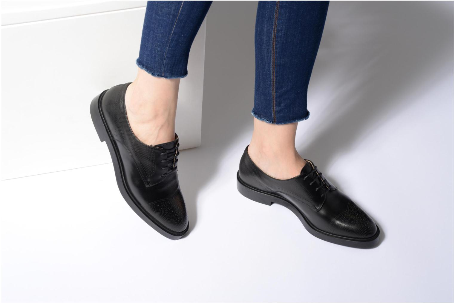 Lace-up shoes Fratelli Rossetti 75406 Black view from underneath / model view