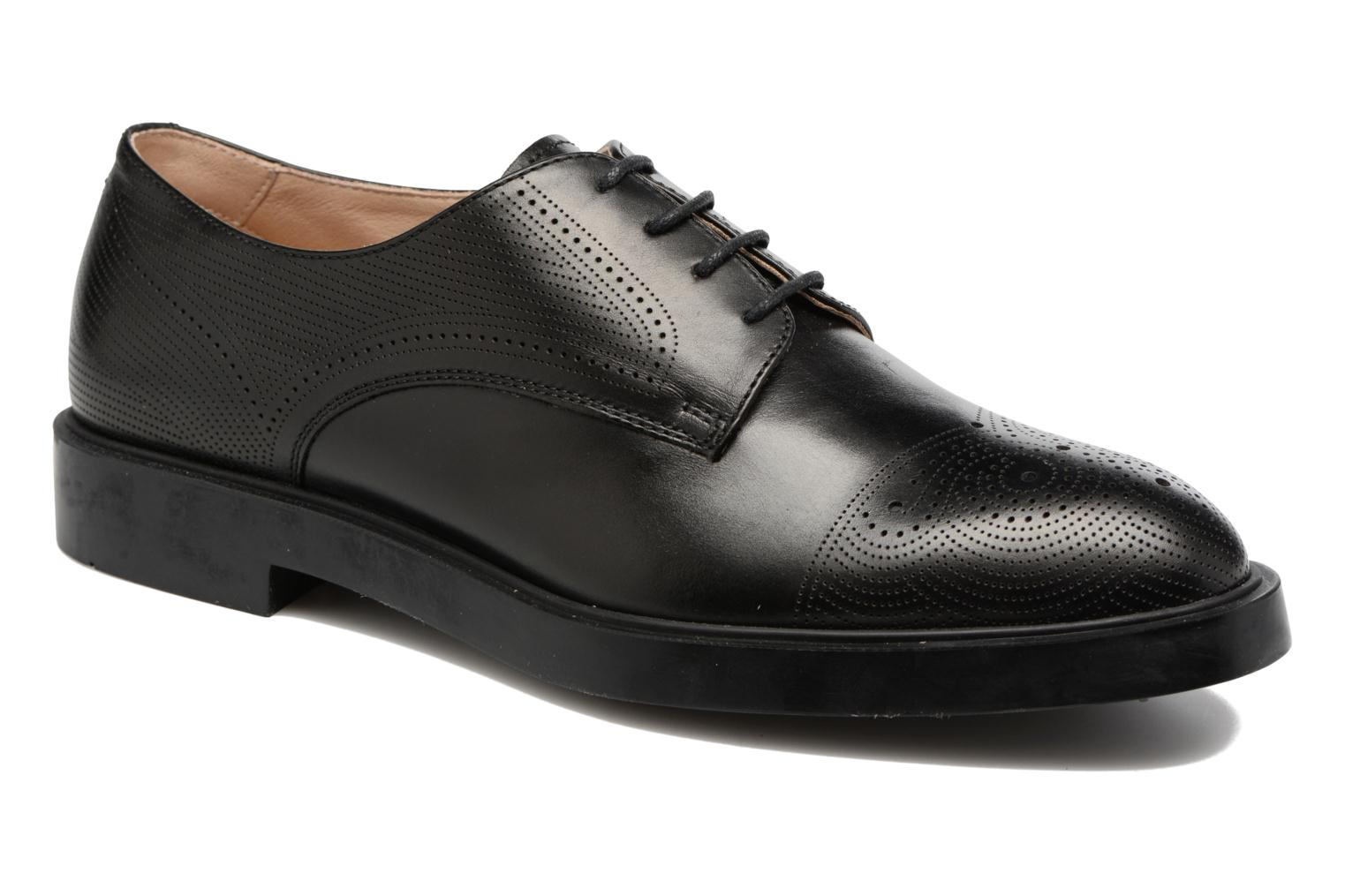 Lace-up shoes Fratelli Rossetti 75406 Black detailed view/ Pair view
