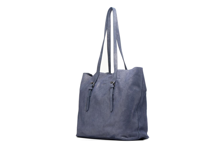 Sacs à main Esprit Venus Leather Shopper Bleu vue portées chaussures