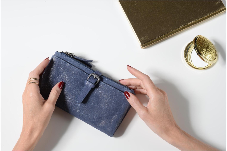 Petite Maroquinerie Esprit Venus Leather Wallet Bleu vue haut