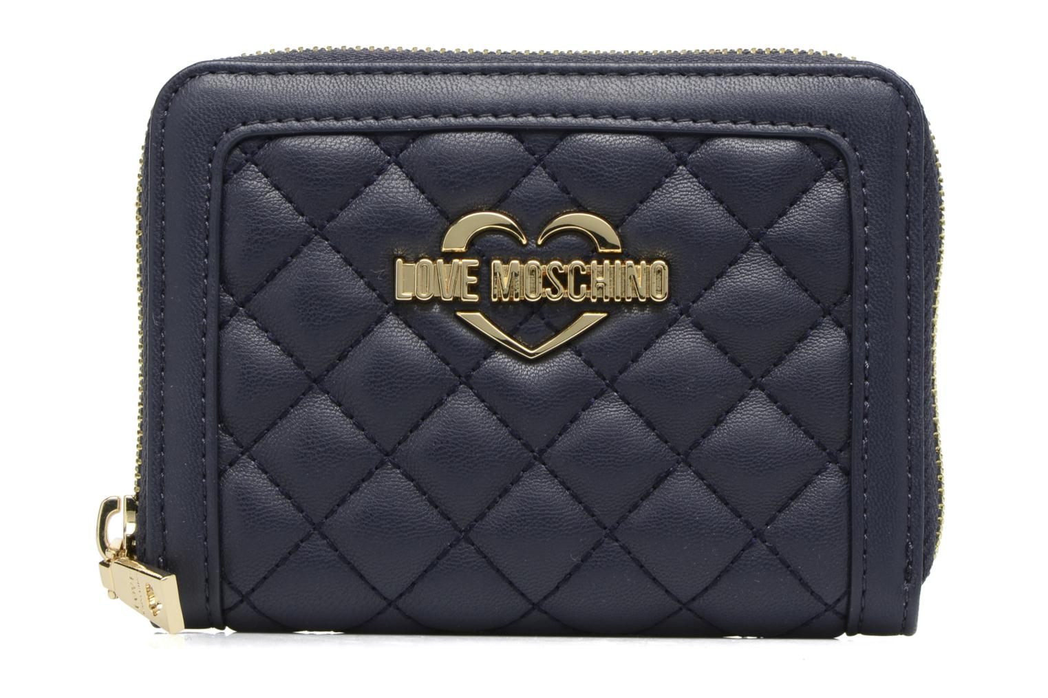 Petite Maroquinerie Love Moschino Portefeuille M Zip Around Quilted Bleu vue détail/paire