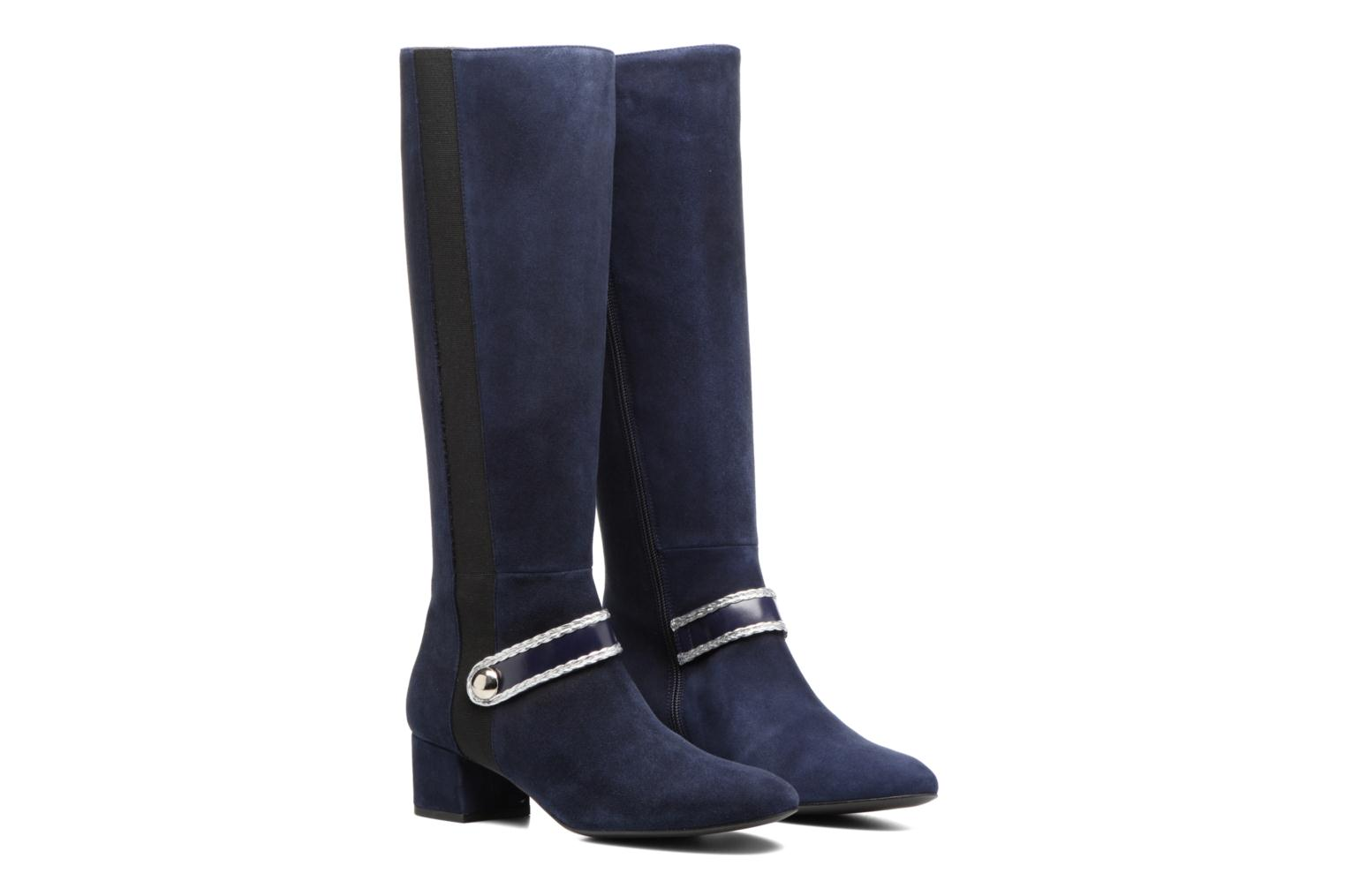 Boots Camp #5 Cuir velours marine