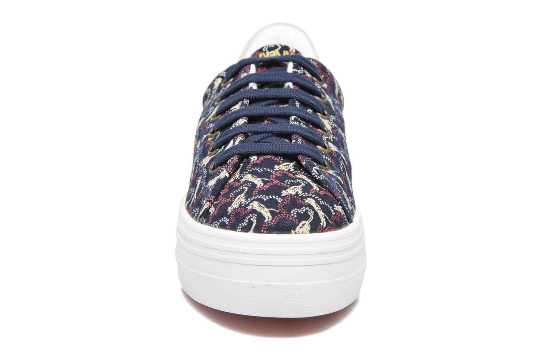 Baskets No Name Plato sneaker pink twill print tiger Bleu vue portées chaussures