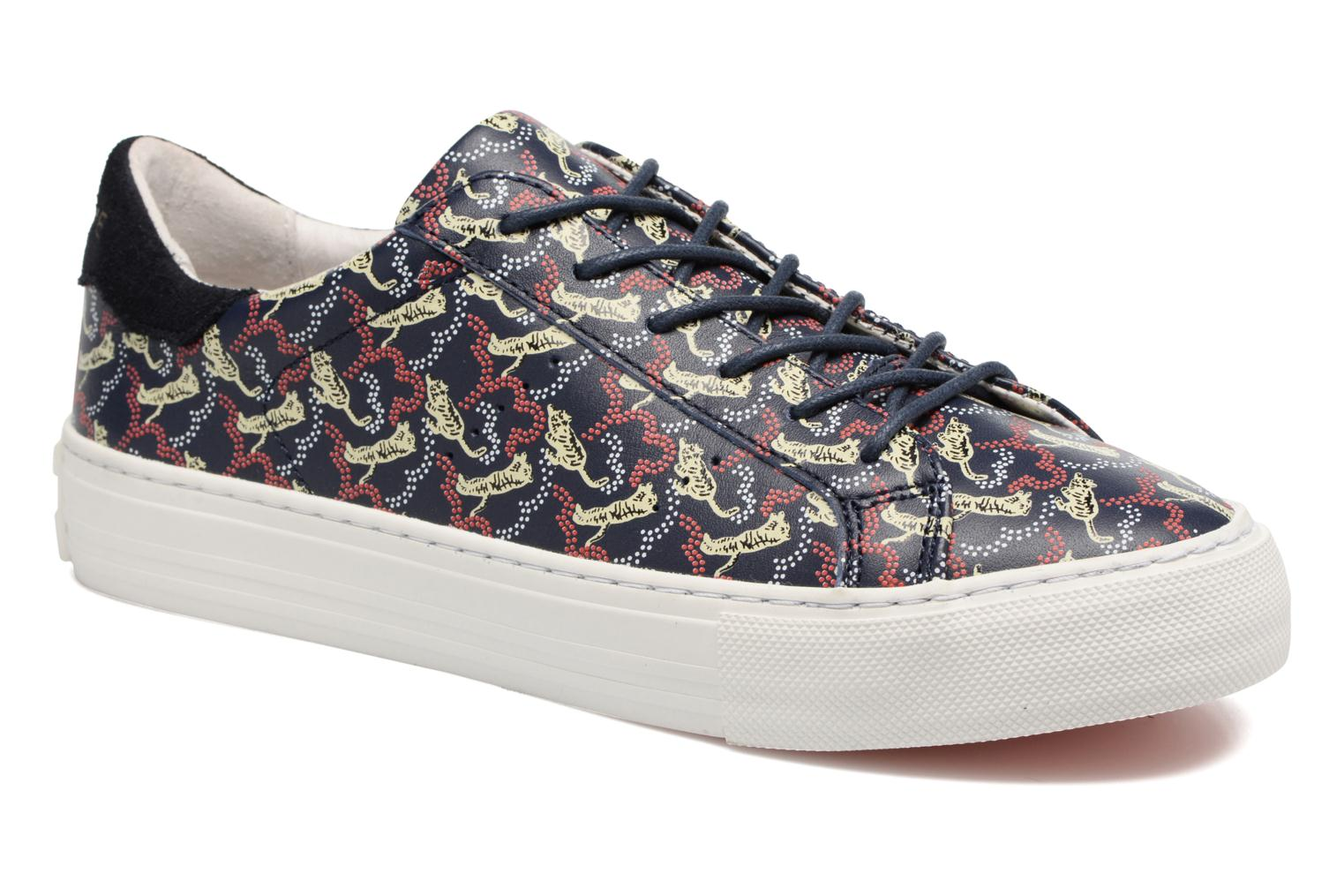 Marques Chaussure femme No Name femme Arcade sneaker pink nappa print tiger Navy Fox White