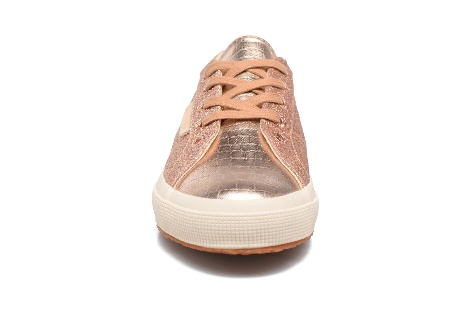 Baskets Superga 2750 Microglitter coco W Or et bronze vue portées chaussures