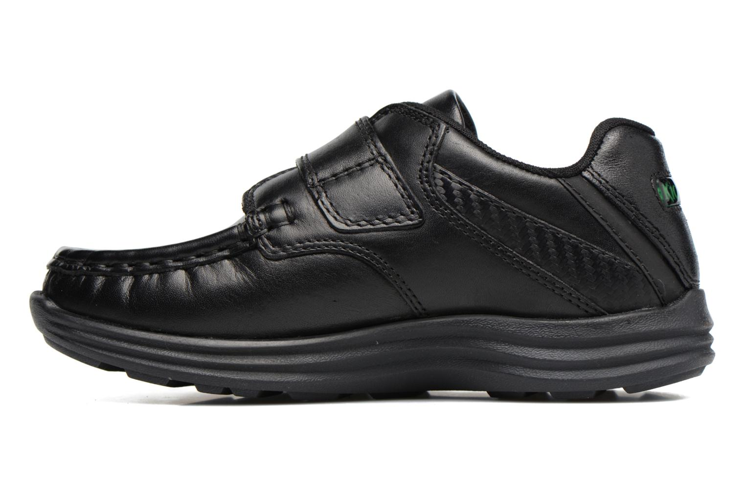 Velcro shoes Kickers REASAN STRAP LTHR Black front view