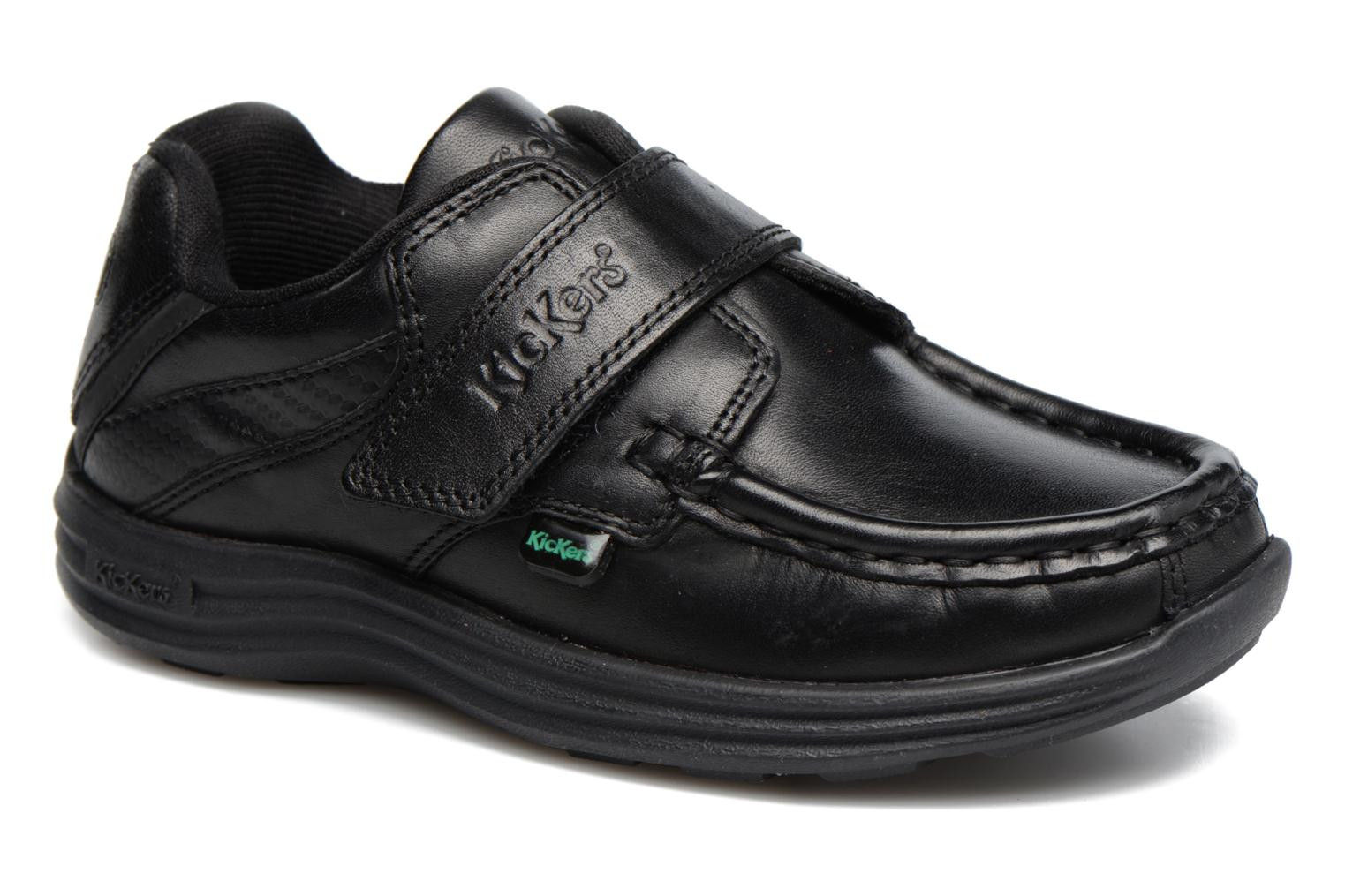 Velcro shoes Kickers REASAN STRAP LTHR Black detailed view/ Pair view
