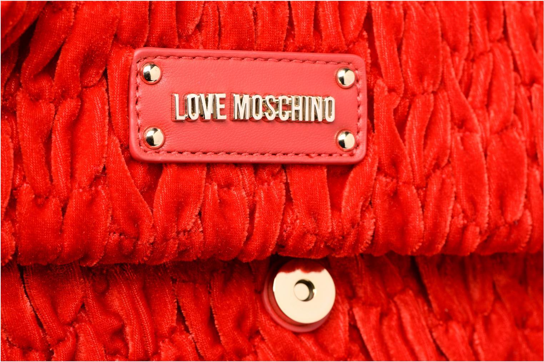 Handbags Love Moschino Pochette Chaine Velvet Red view from the left