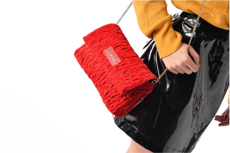Handtaschen Love Moschino Pochette Chaine Velvet rot ansicht von oben