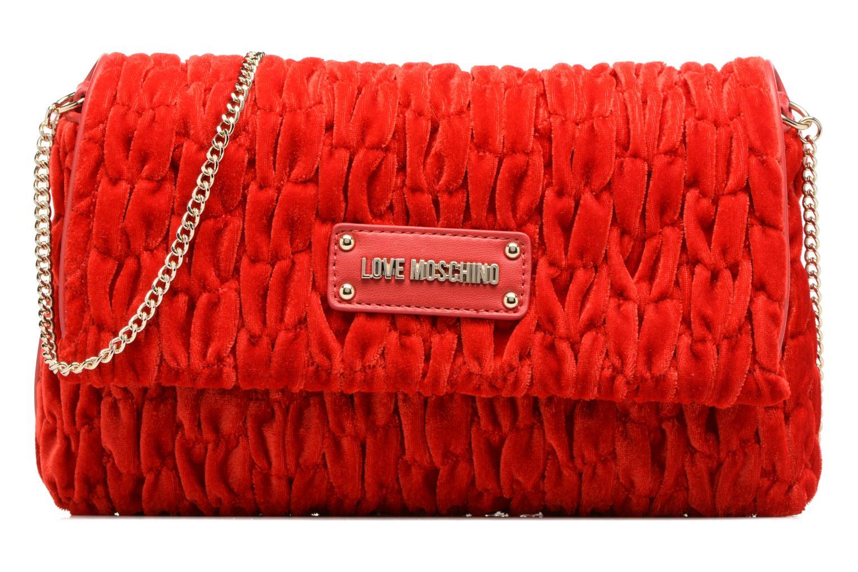 Handbags Love Moschino Pochette Chaine Velvet Red detailed view/ Pair view