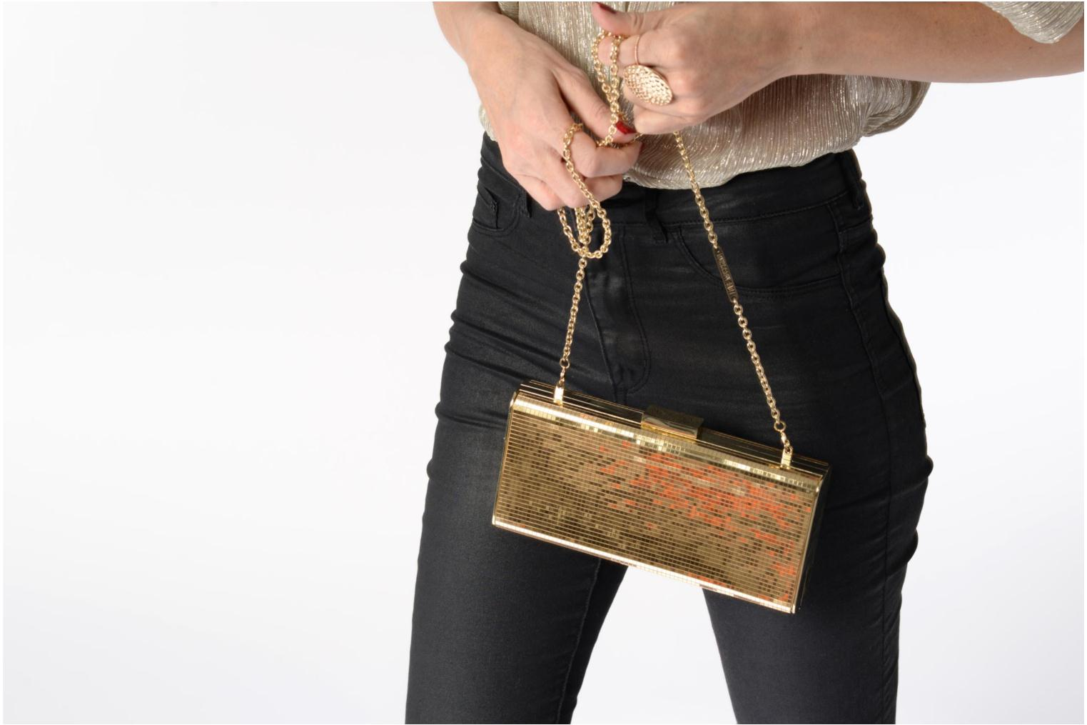 Handbags Love Moschino Minaudière Multi-Facettes Bronze and Gold view from above