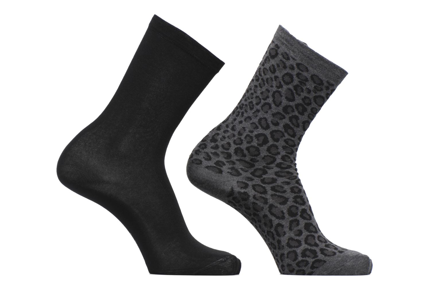 Duo Chaussettes Coton Léopard Lot de 2 ANTHRACITE-NOIR/CHARCOAL GREY-BLACK DQ4