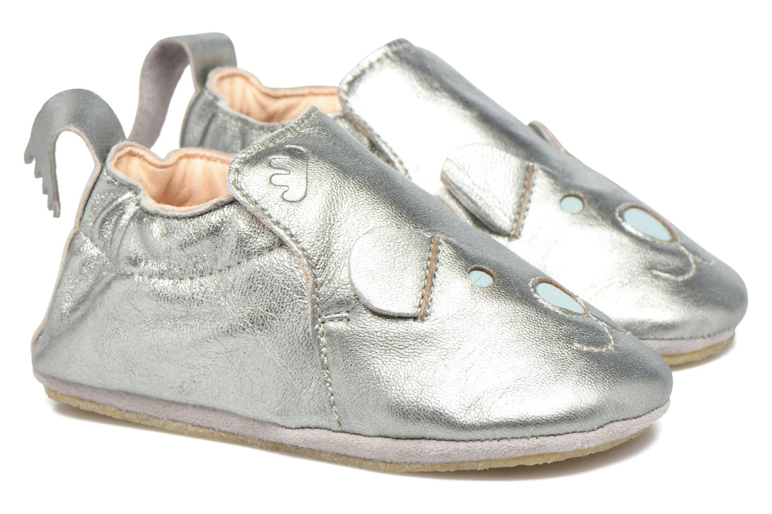 Chaussons Easy Peasy Blublu teddy Argent vue portées chaussures