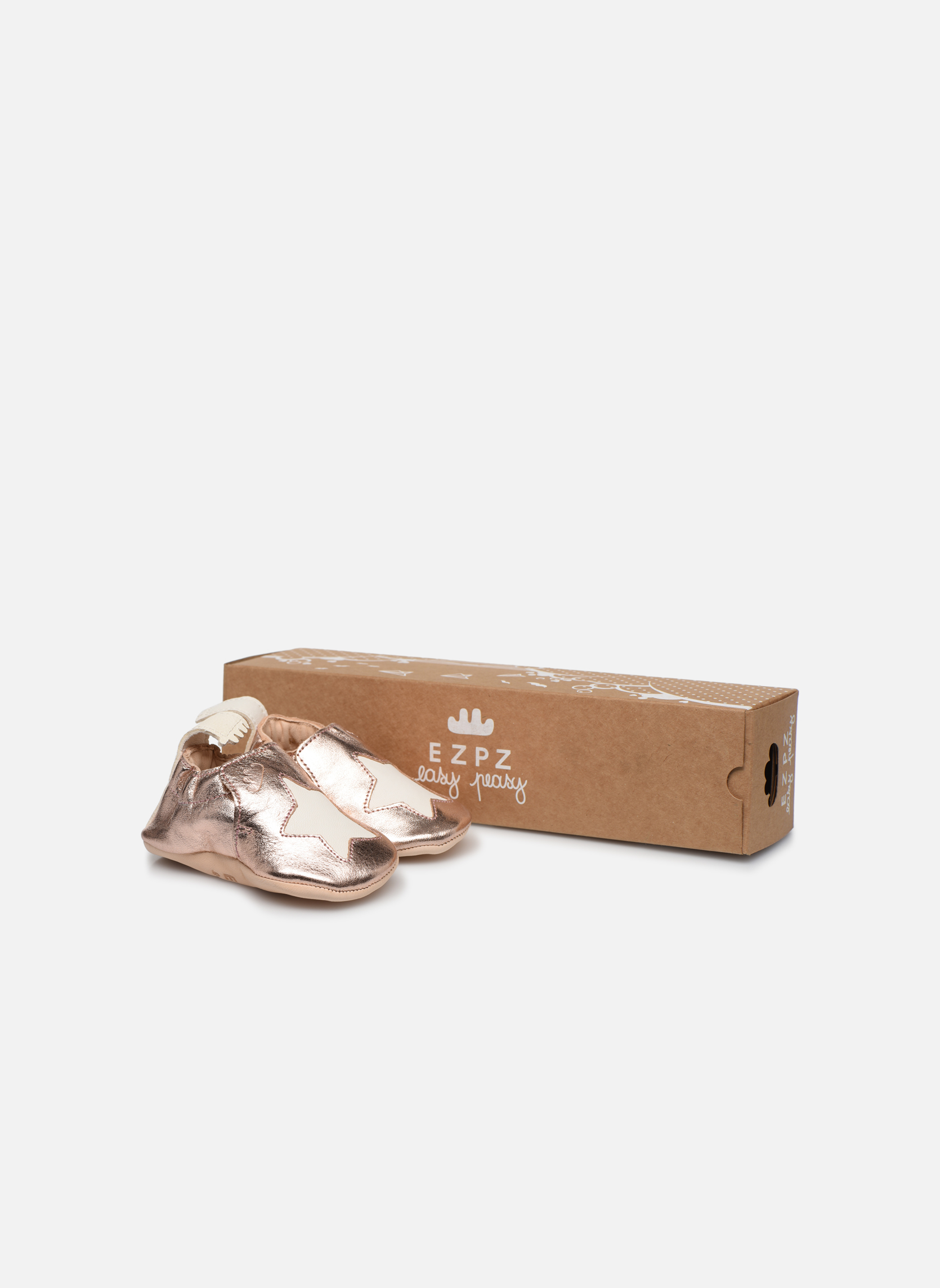 Chaussons Easy Peasy Blumoo Etoile Or et bronze vue détail/paire