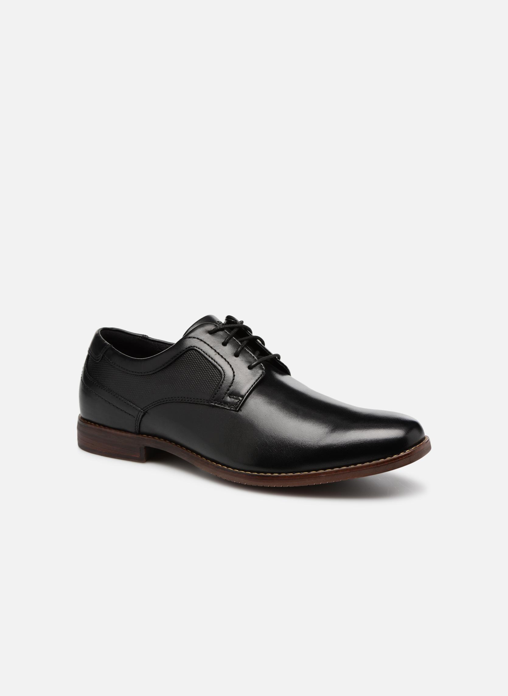 Chaussures à lacets Rockport SP Perf Plain Toe Noir vue détail/paire