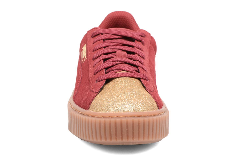 Baskets Puma PS Suede Platform Glam/Jr Suede Platform Glam Bordeaux vue portées chaussures