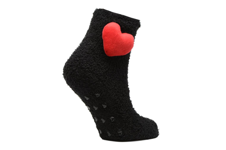 Chaussettes et collants Sarenza Wear Chaussons Chaussette Femme Antidérapantes Cœur Noir vue détail/paire