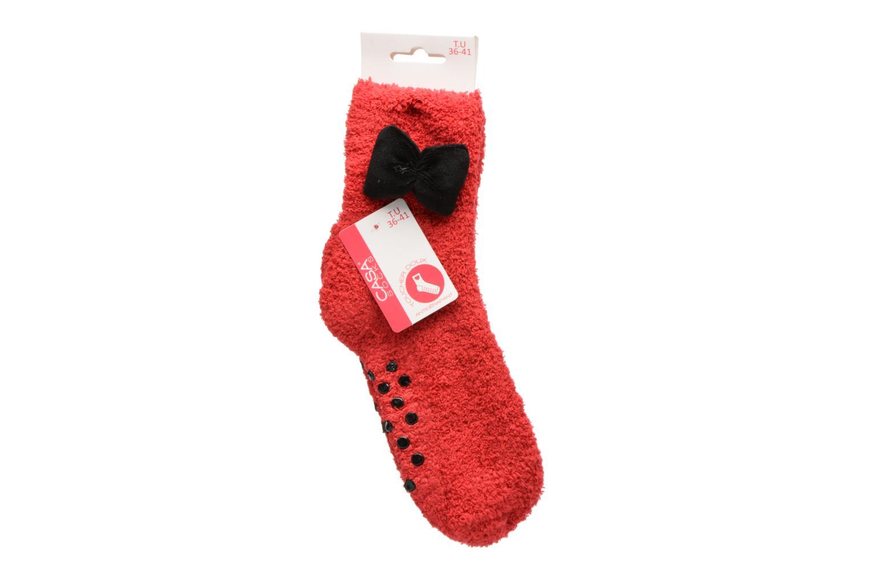 Chaussettes et collants Sarenza Wear Chaussons Chaussette Femme Antidérapantes Nœud Rouge vue portées chaussures