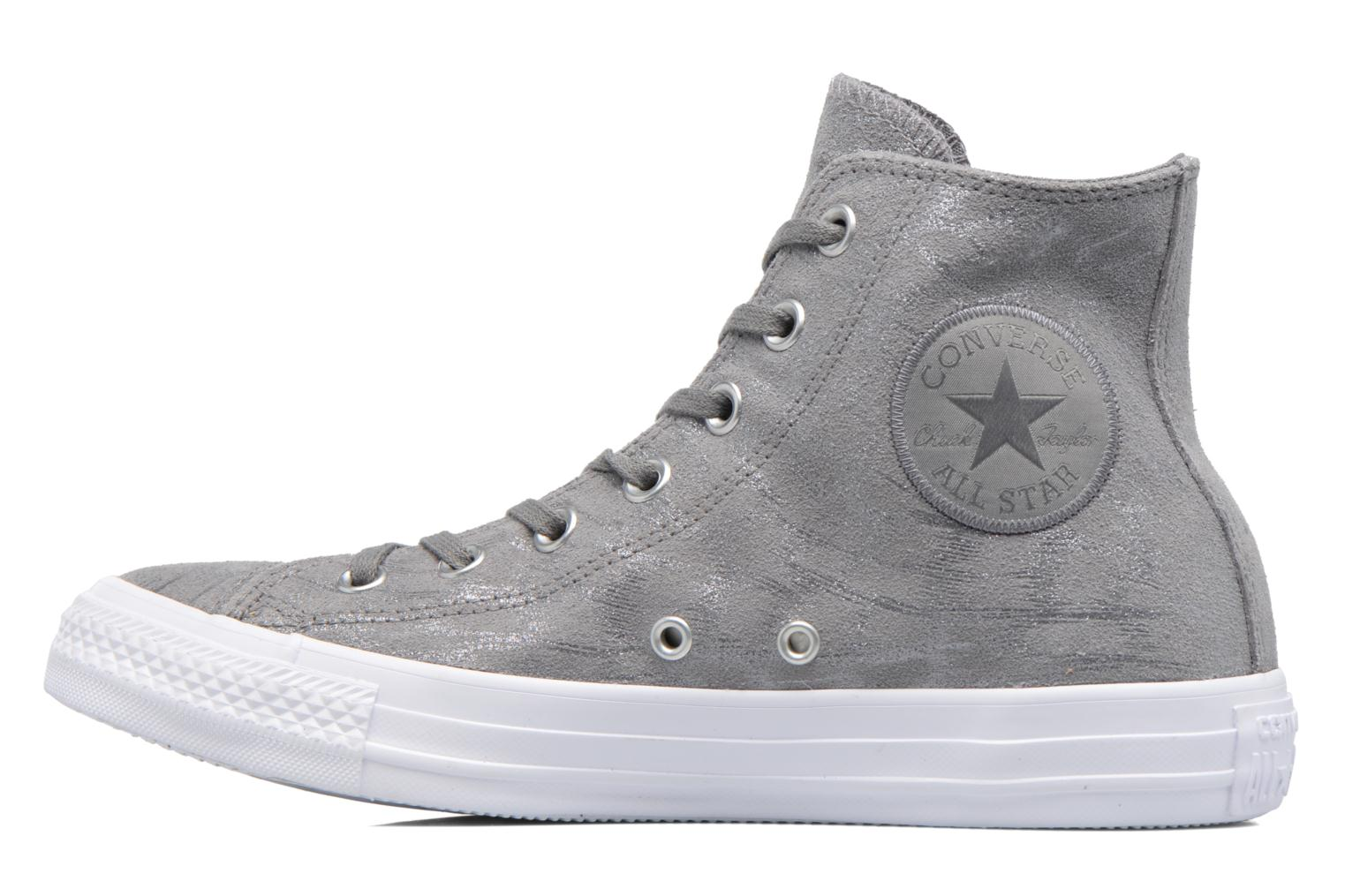 Sneakers Converse Chuck Taylor All Star Shimmer Suede Hi Grigio immagine frontale